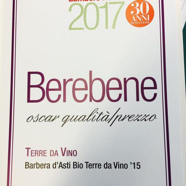 Oscar Berebene gamberorosso al Barbera Bio TerredaVino